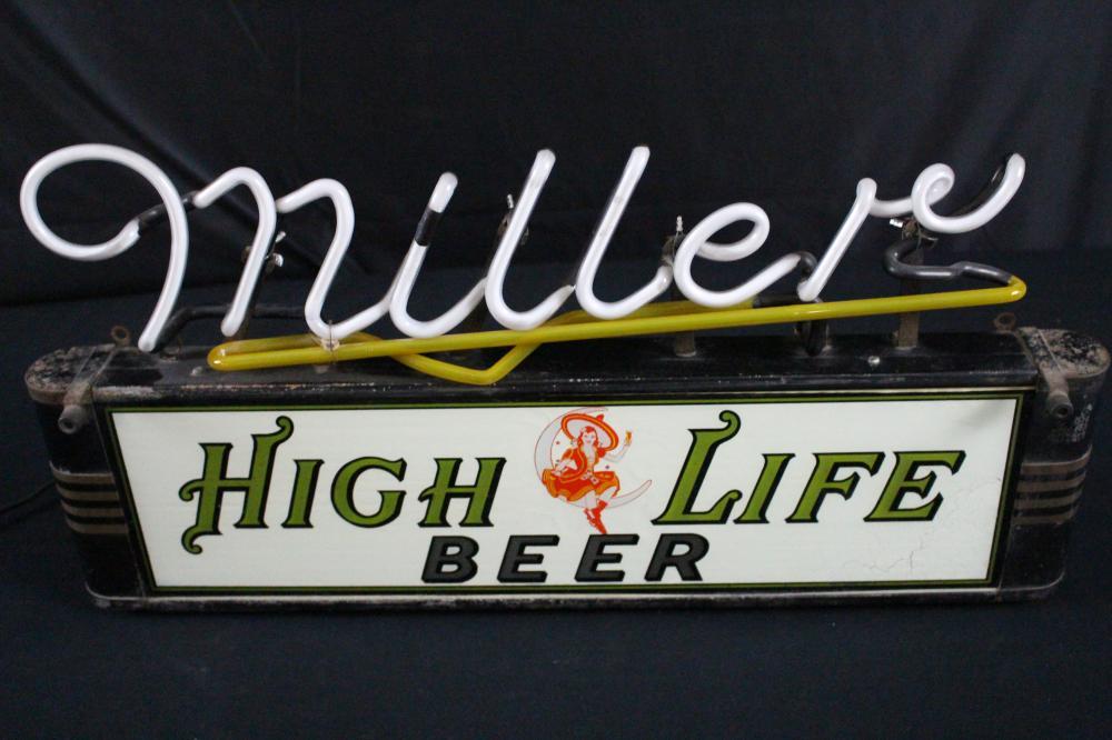 MILLER HIGH LIFE BEER NEON BACK BAR WINDOW SIGN