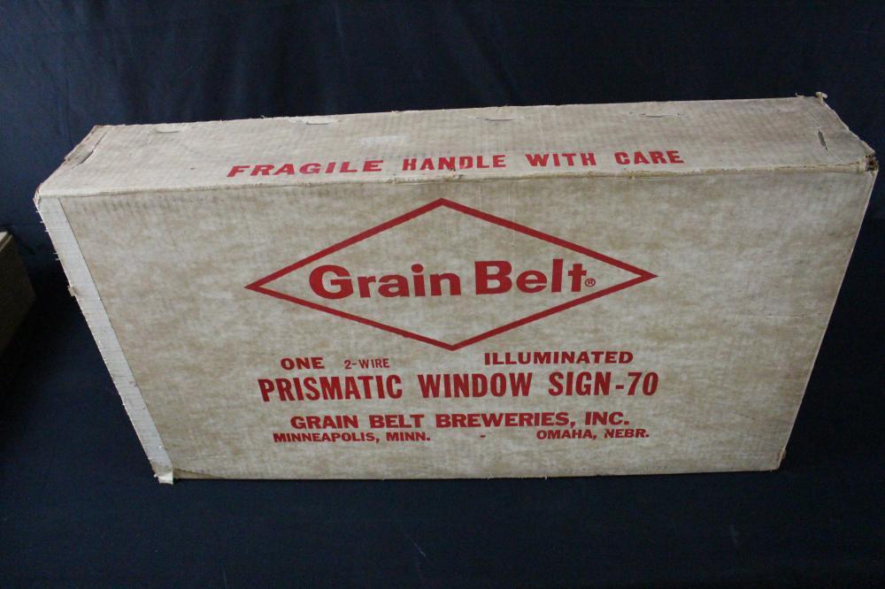 NOS GRAIN BELT BEER PRISMATIC WINDOW SIGN