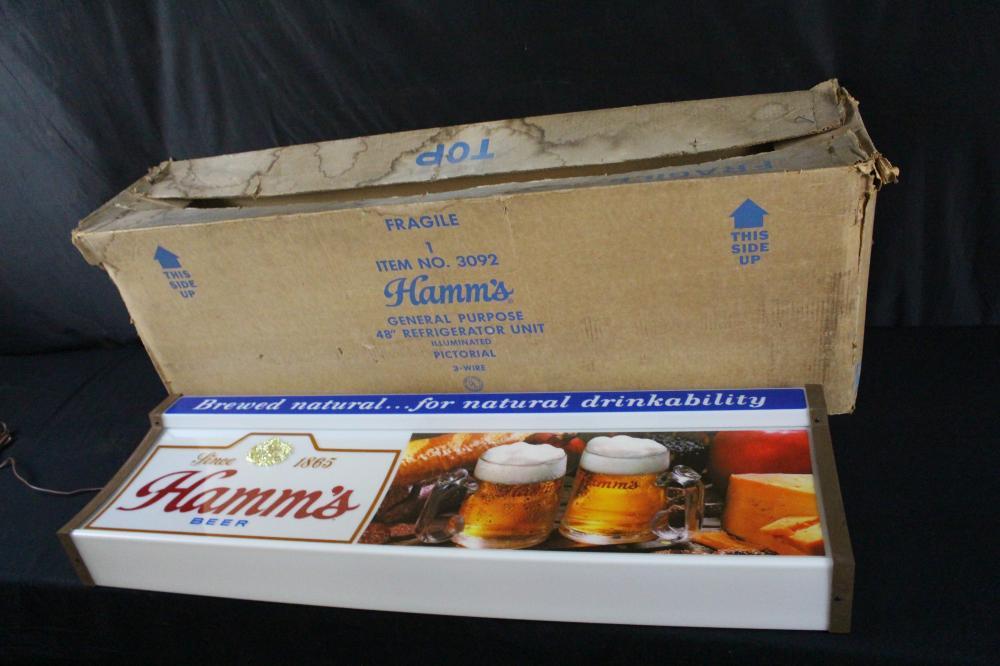 LARGE NOS  LIGHTED HAMMS BEER SIGN ORIGINAL BOX