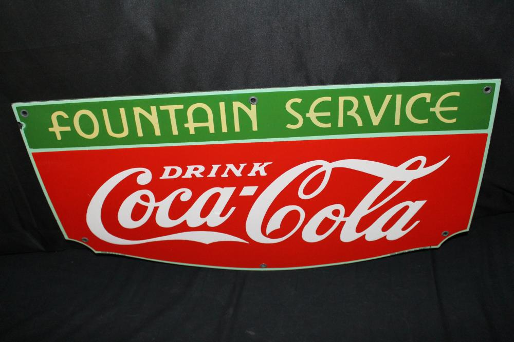 PORCELAIN DRINK COCA COLA FOUNTAIN SERVICE SIGN