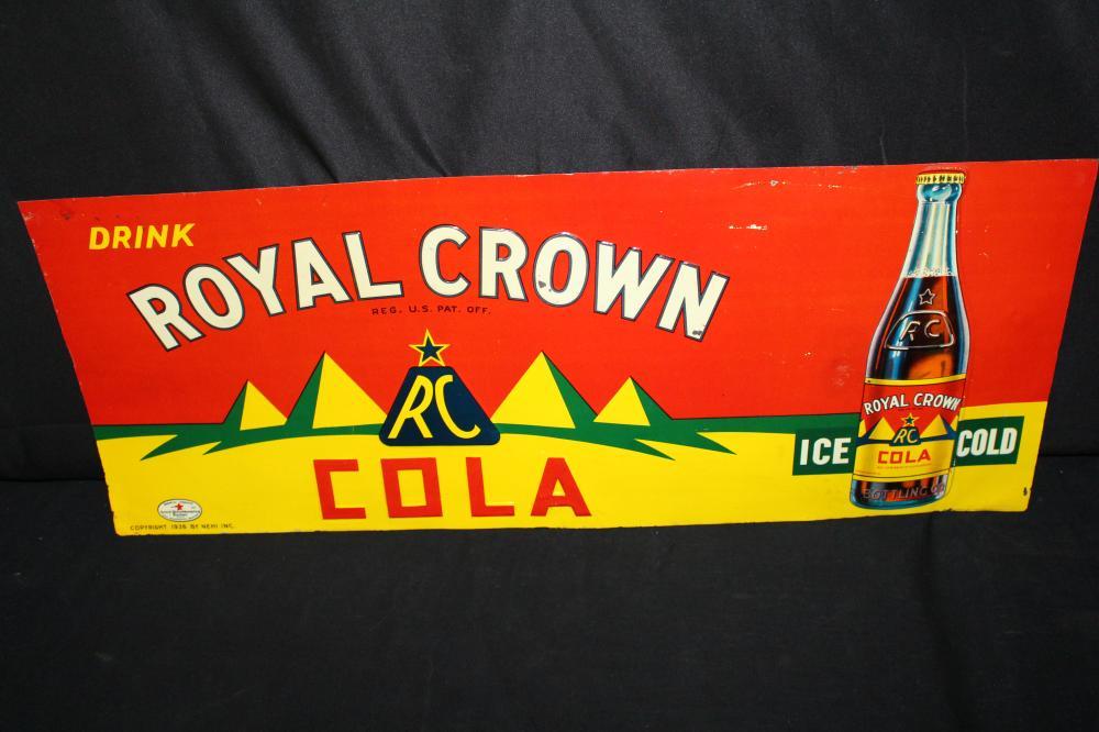 DRINK RC ROYAL CROWN COLA SODA POP TIN SIGN