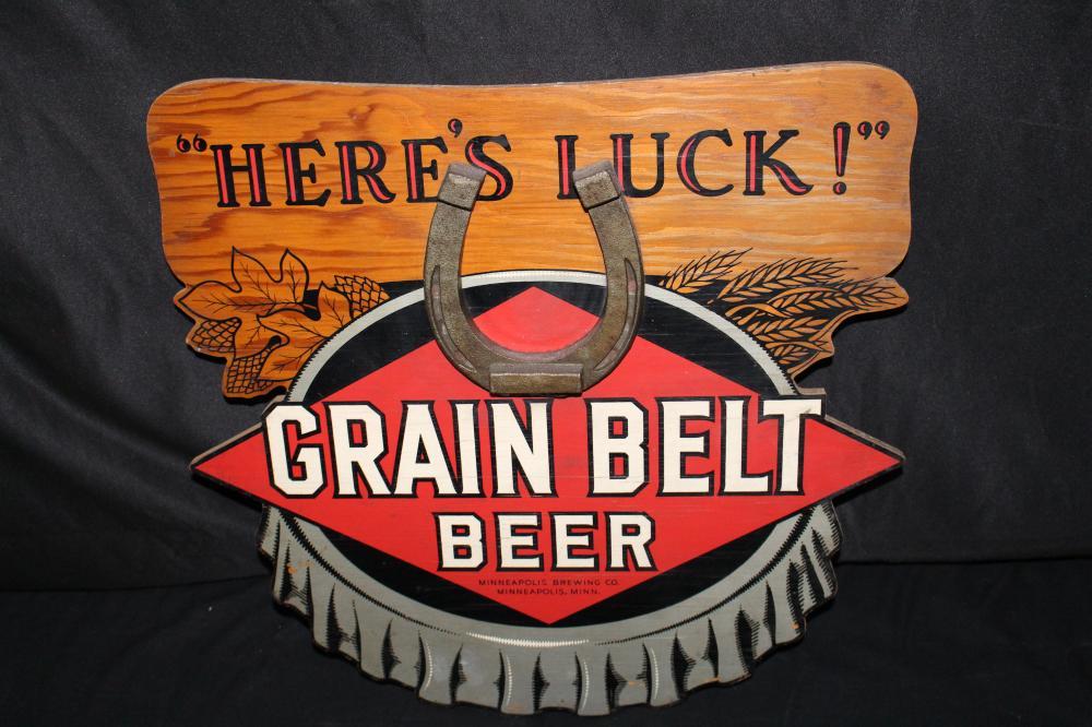 GRAIN BELT BEER GOOD LUCK HORSESHOE SIGN
