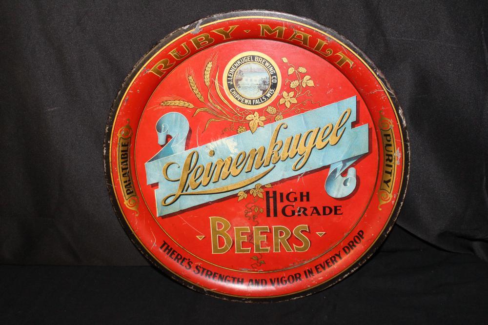 RARE LEINENKUGELS RUBY MALT PRE PRO BEER TRAY SIGN