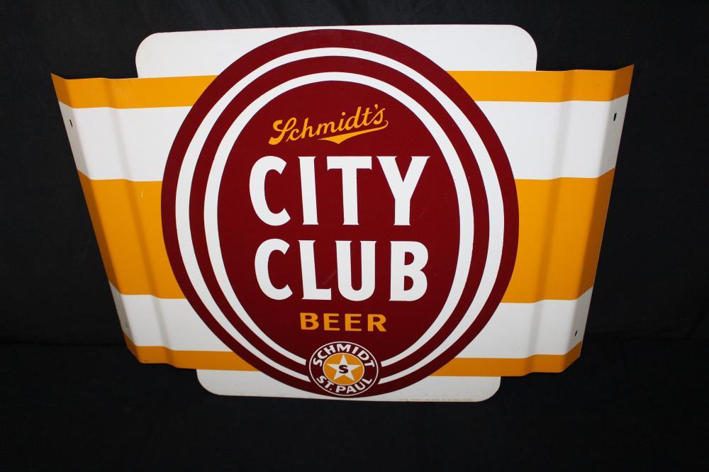 SCHMIDTS CITY CLUB BEER 3-D TIN SIGN