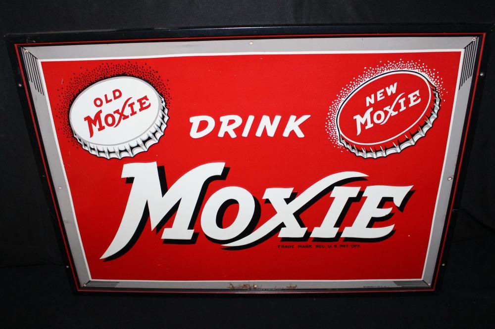 DRINK MOXIE OLD & NEW SODA POP TIN SIGN