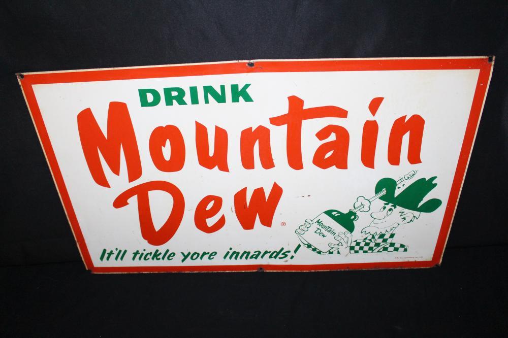 DRINK MOUNTAIN DEW SODA POP TIN SIGN