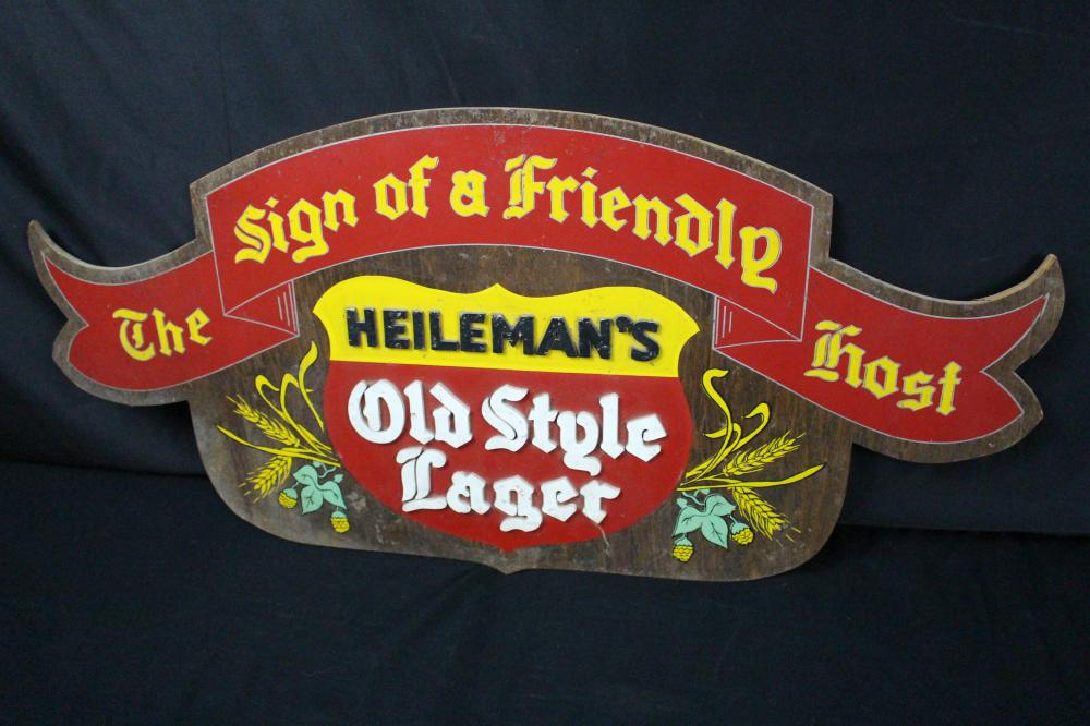 HEILEMANS OLD STYLE LAGER BEER WOODEN SIGN