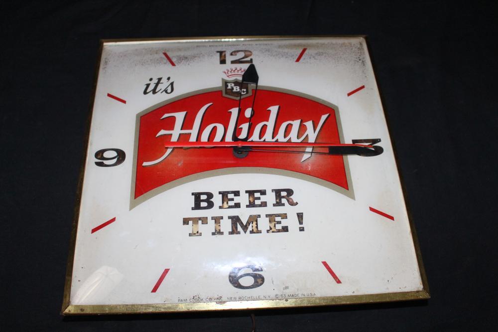 POTOSI BREWING CO HOLIDAY BEER CLOCK SIGN