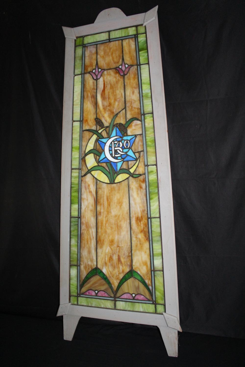CREAM CITY BREWING CO BREWERY STAIN GLASS WINDOW