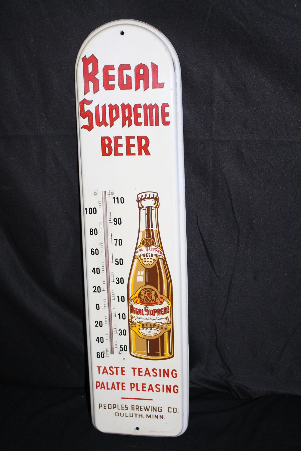 PEOPLES BREWING DULUTH MN REGAL BEER THERMOMETER