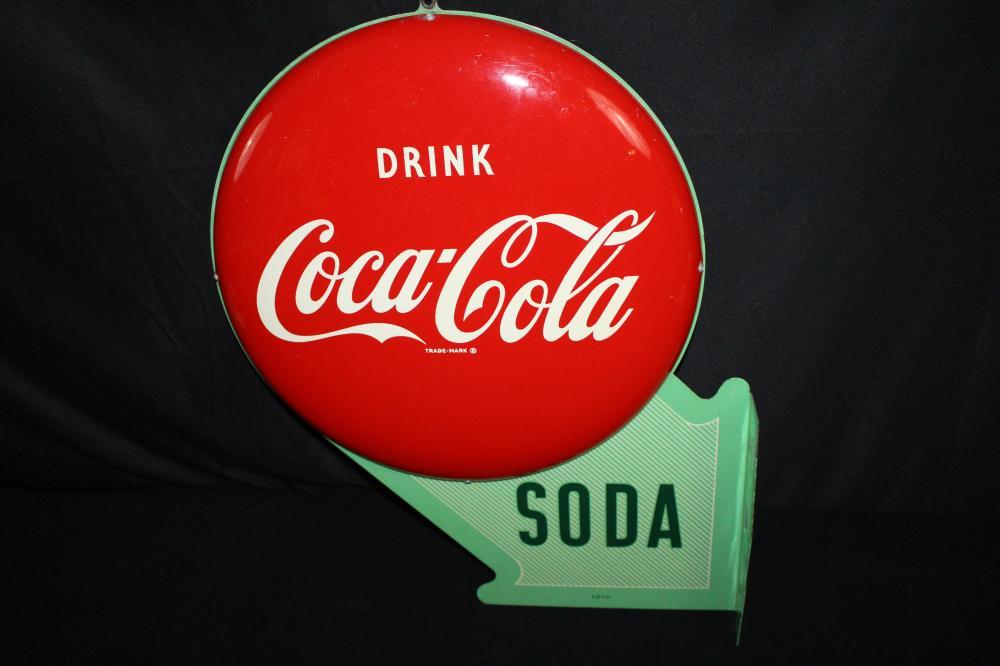 RARE COCA COLA DOUBLE BUTTON FLANGE SIGN