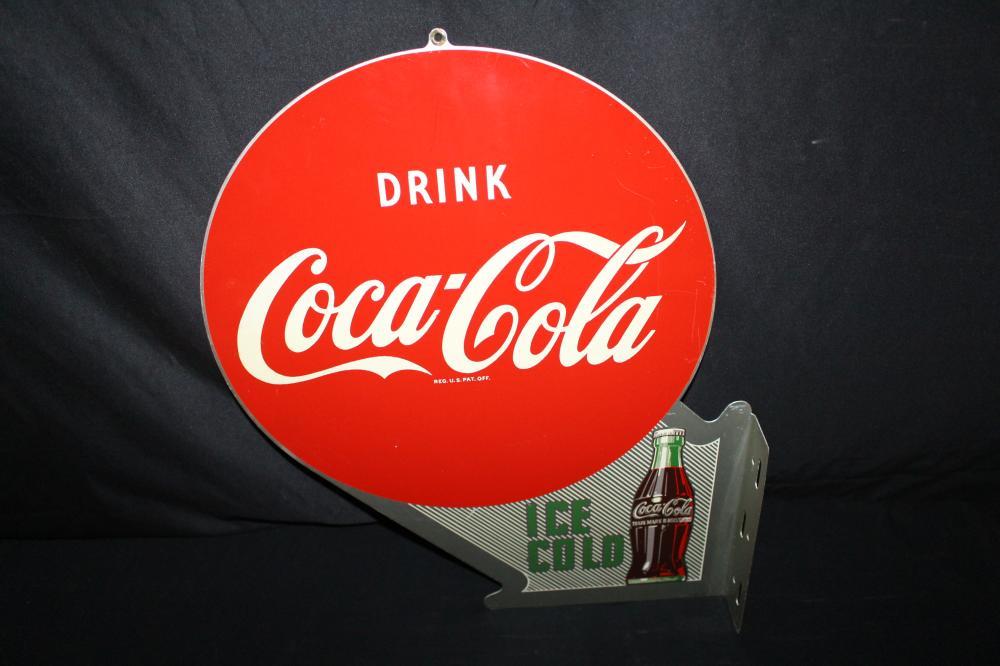 DRINK COCA COLA ICE COLD ARROW FLANGE SIGN