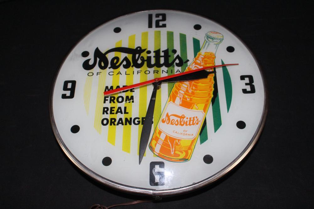 1958 NESBITTS OF CALIFORNIA ORANGE SODA CLOCK SIGN
