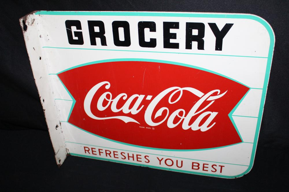COCA COLA  FISHTAIL GROCERY STORE FLANGE SIGN