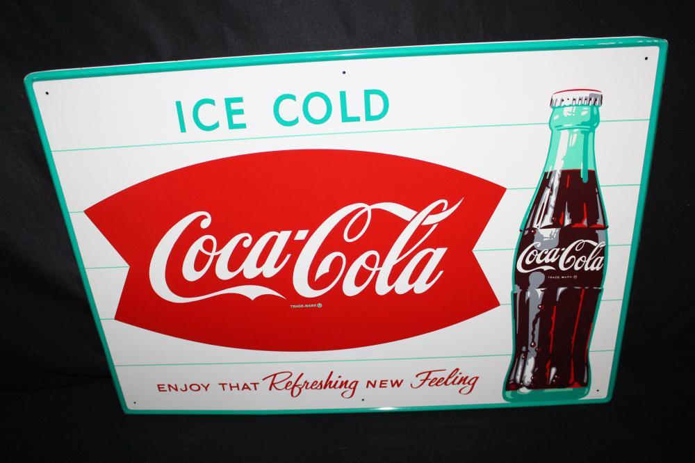 NOS ICED COLD COCA COLA FISHTAIL TIN SODA POP SIGN