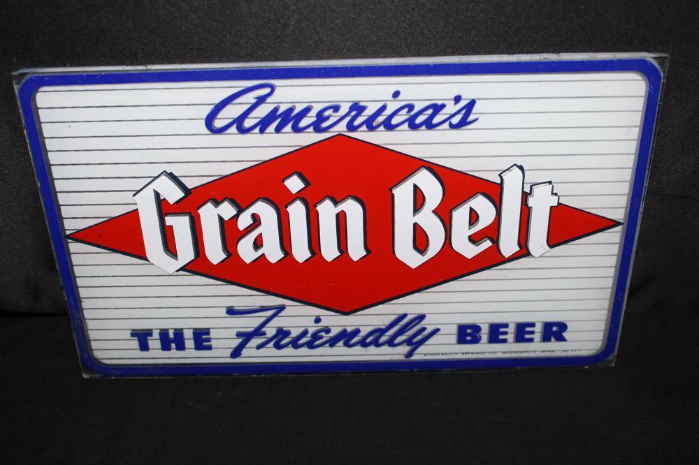 GLASS GRAIN BELT BEER SIGN