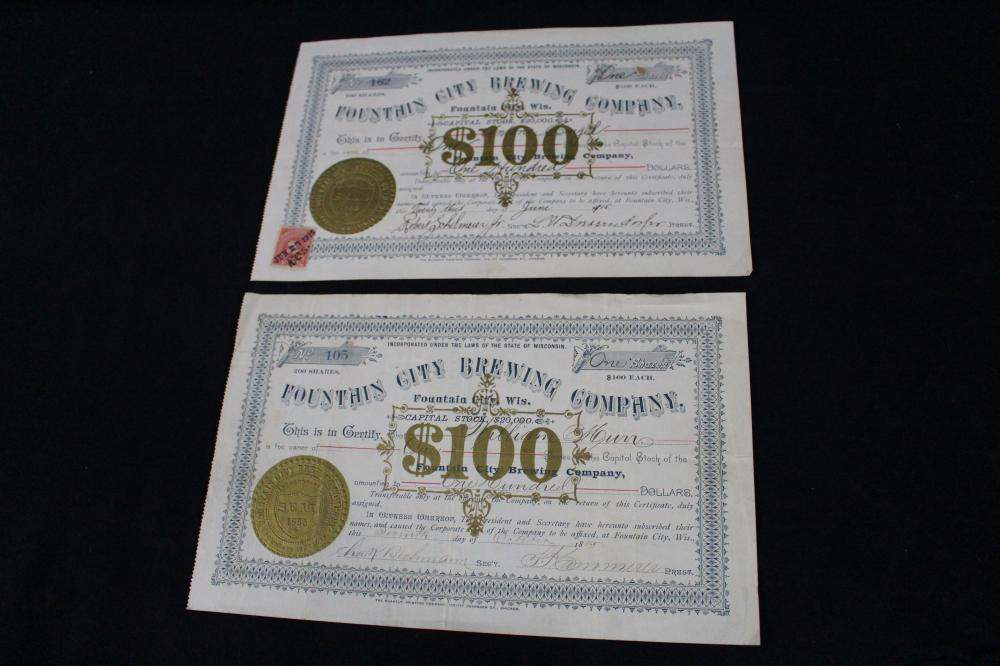 2 FOUNTAIN CITY BREWERY STOCK CERTIFICATES