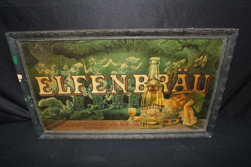 C&J MICHEL BREWING LACROSSE ELFENBRAU BEER SIGN