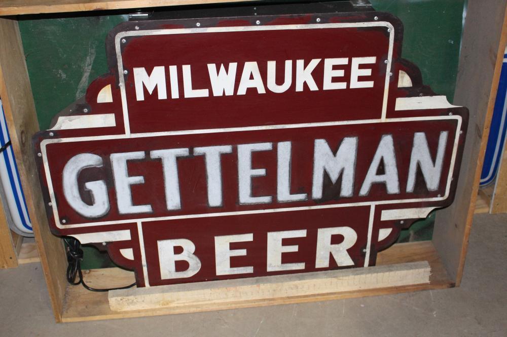 RESTORED PORCELAIN GETTELMAN MILWAUKEE BEER SIGN