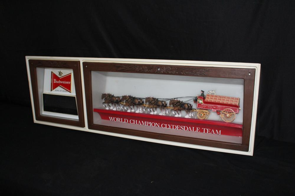 BUDWEISER BEER CHAMPION CLYDESDALES CLOCK SIGN
