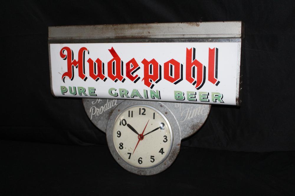 HUDEPOHL PURE GRAIN BEER CLOCK SIGN