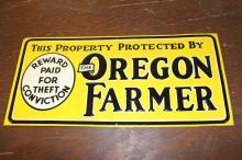 NOS The Oregon Farmer Tin Farm Sign