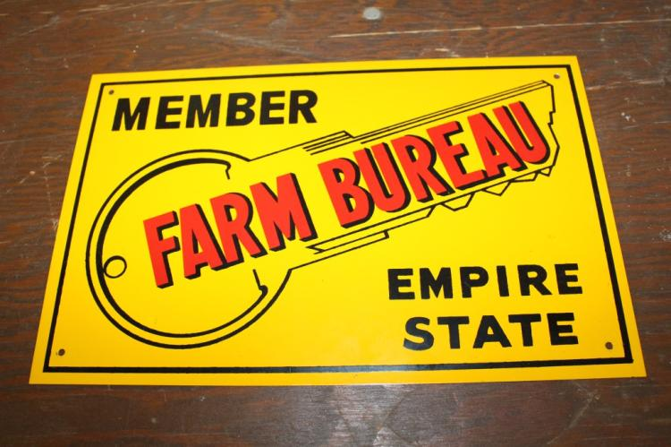 NOS Empire State New York Farm Bureau Tin Sign