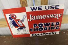 Jamesway Power Choring Farm Equipment Tin Sign