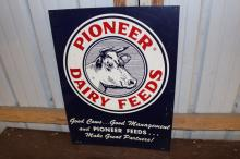 Pioneer Dairy Feeds Holstein Cow Tin Farm Sign