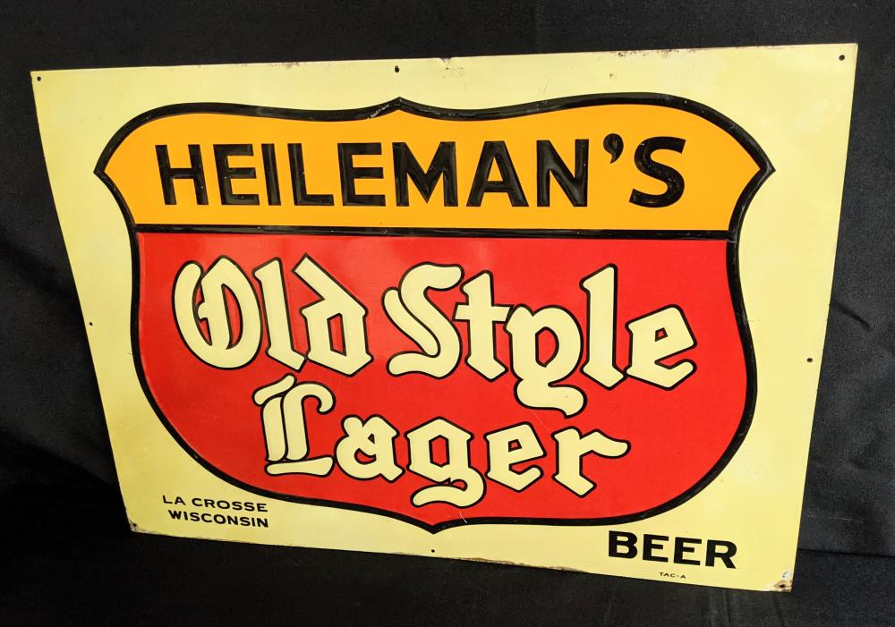 EMBOSSED TIN SIGN HEILEMANS OLD STYLE LAGER BEER