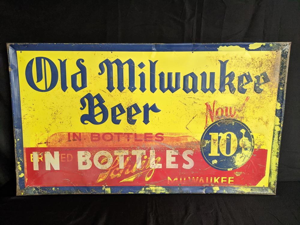 EMBSSED TIN SIGN SCHLITZ OLD MILWAUKEE BEER