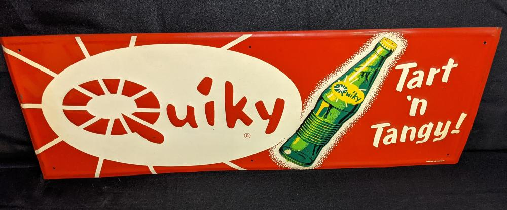 NOS EMBOSSED TIN SIGN QUIKY TART & TANGY SODA POP