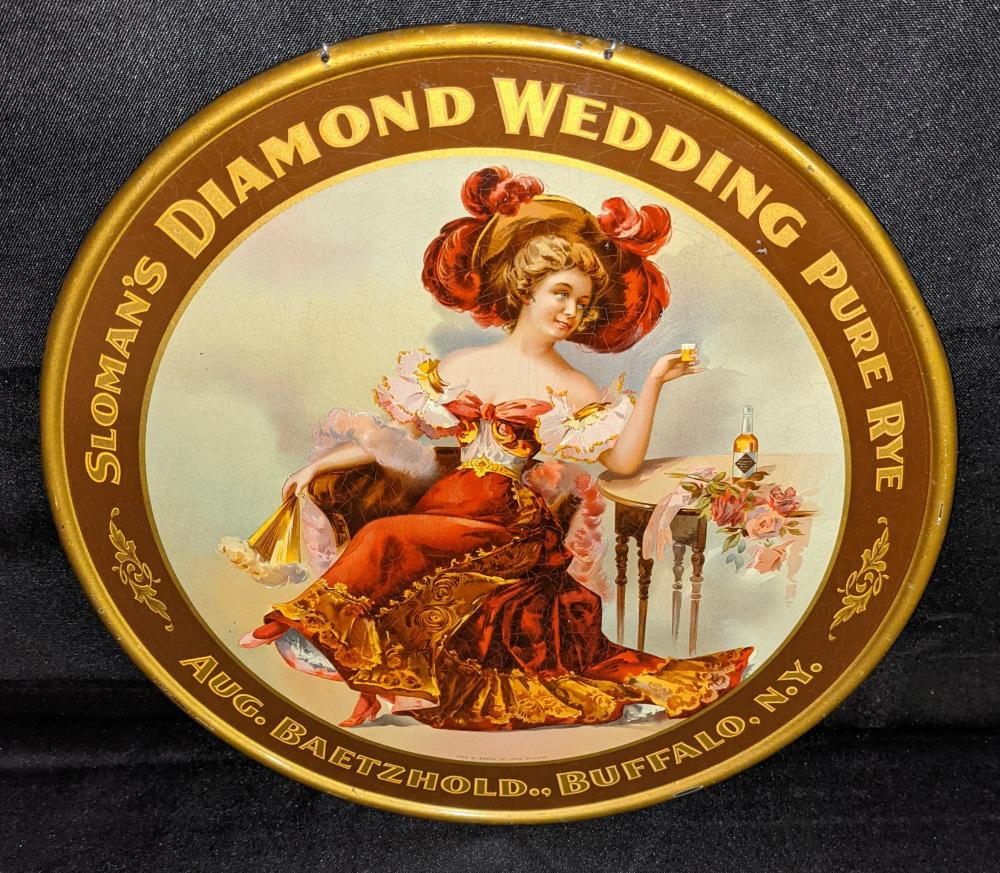 SLOMAN'S DIAMOND WEDDING WHISKEY TIN LITHO SIGN