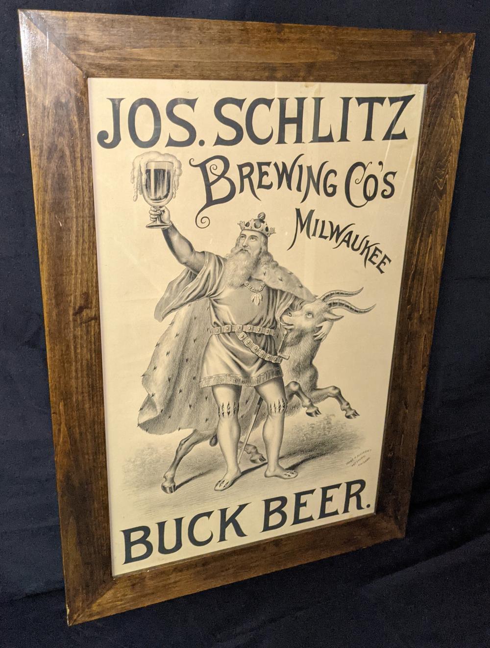 PRE PRO LITHO BEER SIGN JOS SCHLITZ BUCK BEER