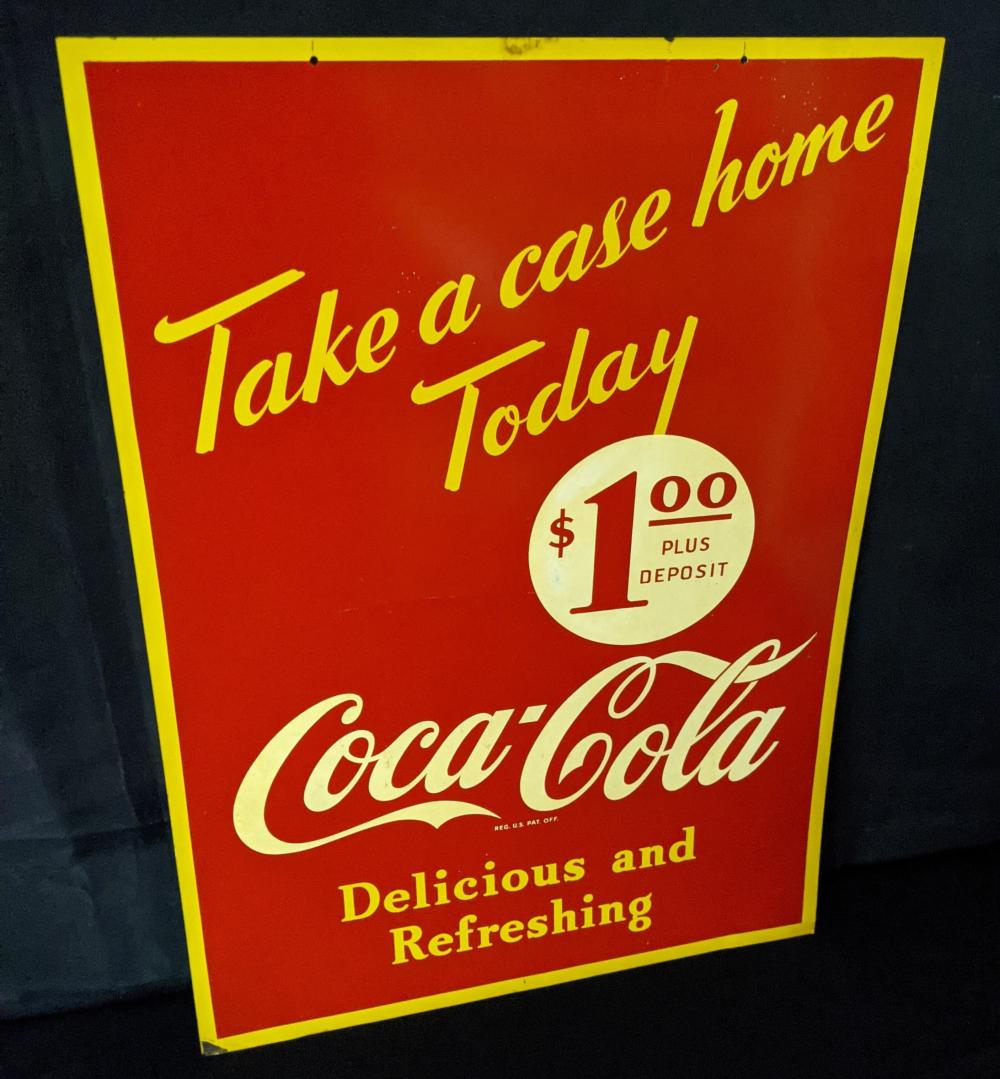 2 SIDED TIN SIGN TAKE A CASE HOME COCA COLA $1.00
