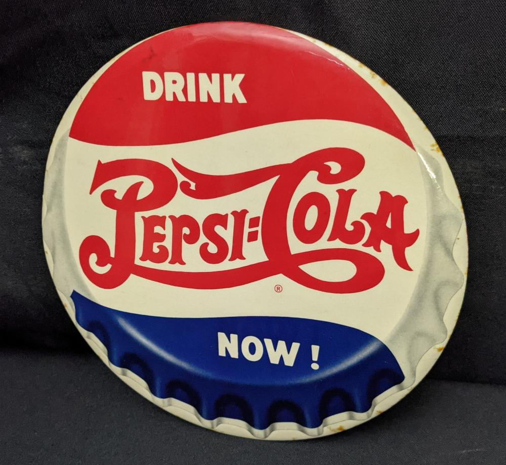 """9"""" CELLULOID SIGN DRINK PEPSI COLA NOW"""