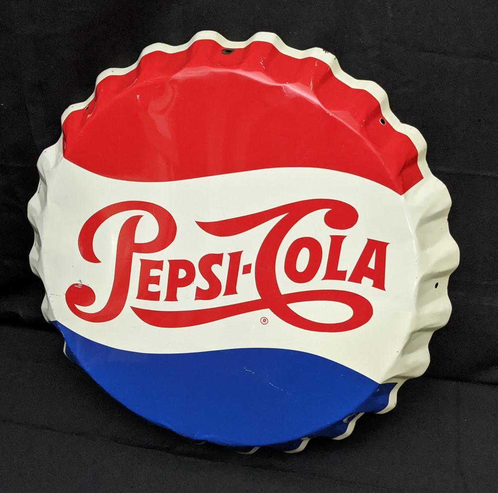 TIN BOTTLE CAP SIGN PEPSI COLA SODA POP