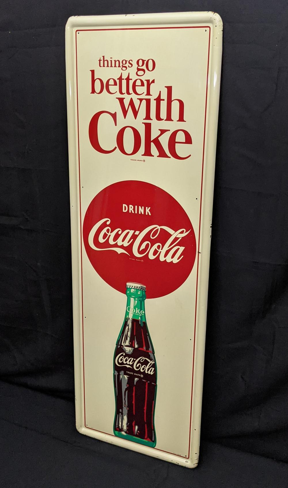TIN SIGN DRINK COCA COLA THINGS GO BETTER COKE