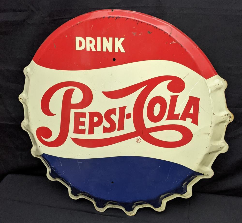 TIN BOTTLE CAP SIGN DRINK PEPSI COLA