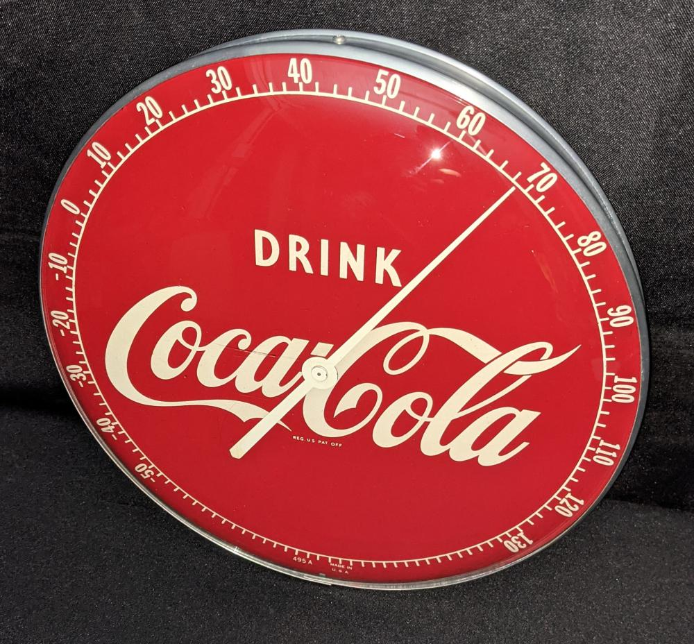 """12"""" THERMOMETER SIGN DRINK COCA COLA"""
