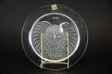 1971 Lalique Crystal Hibou Owl Collector Plate