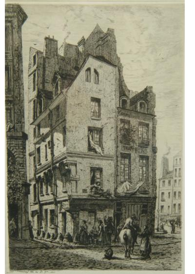 Alfred Alexandre Delauney Two Parisian Street Scenes Etchings