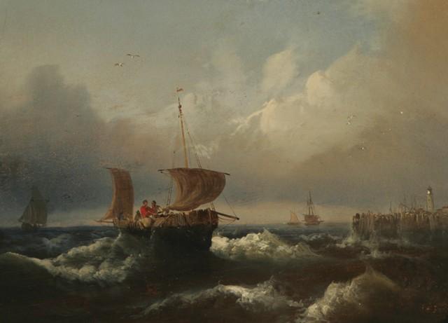 Two Eduard Schmidt Fishing Boats Oil