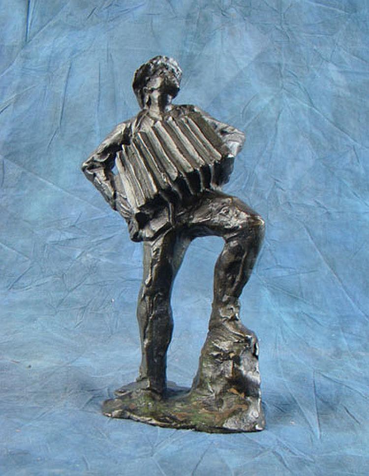 BAZZONI A. - Sculpture en bronze -Joueur