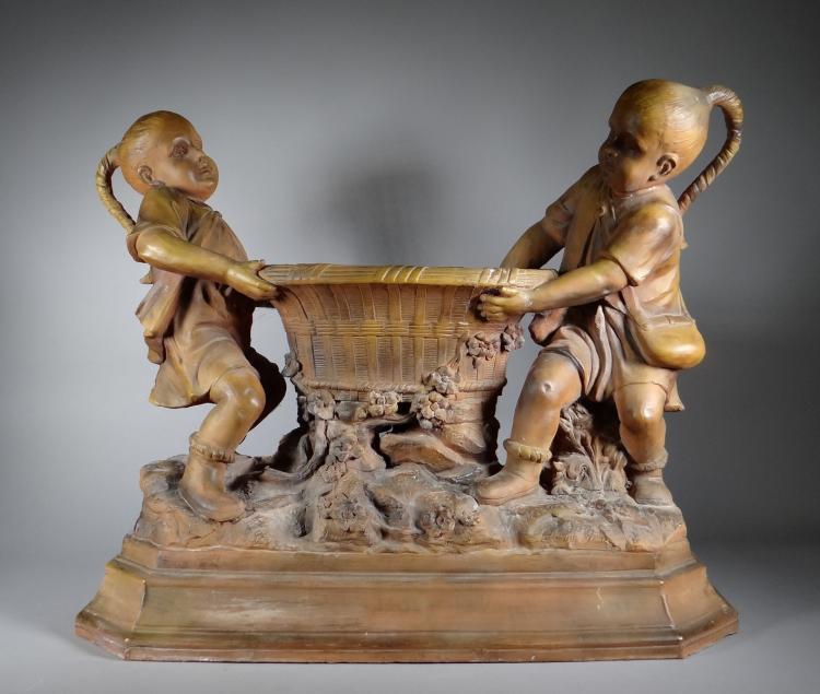 Ceramics: Terracotta jardiniere marqued GOLDSCHIEDER