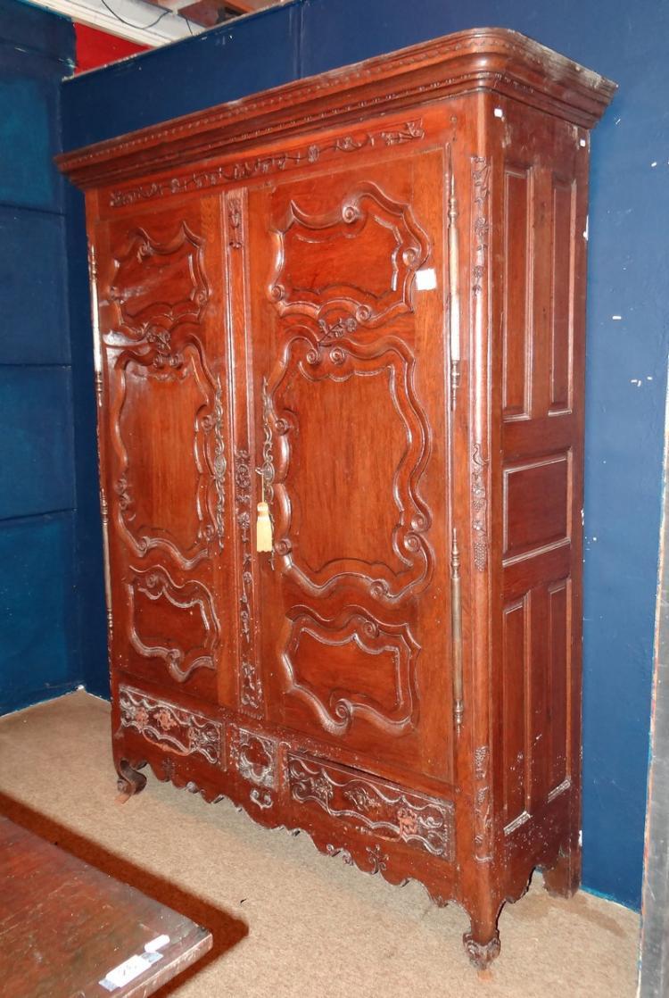 Furniture: Louis XV armoire in oak 18C