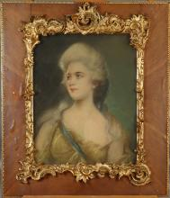Painting: Pastel - Young woman - signed LIBERTY V. end 19C