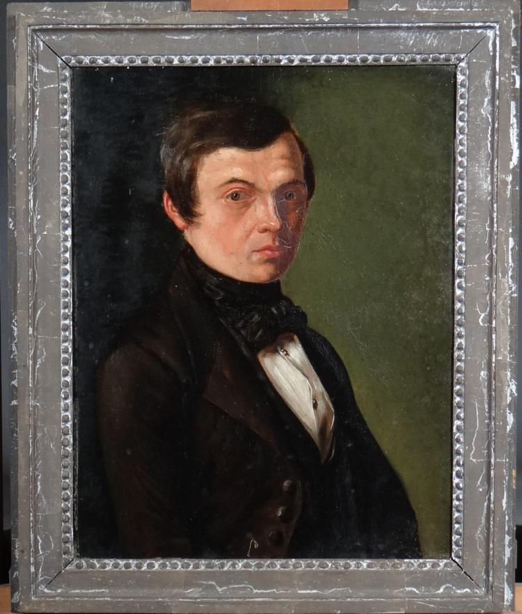 Painting oil on panel - Portrait of a Man - Anonymous 19C