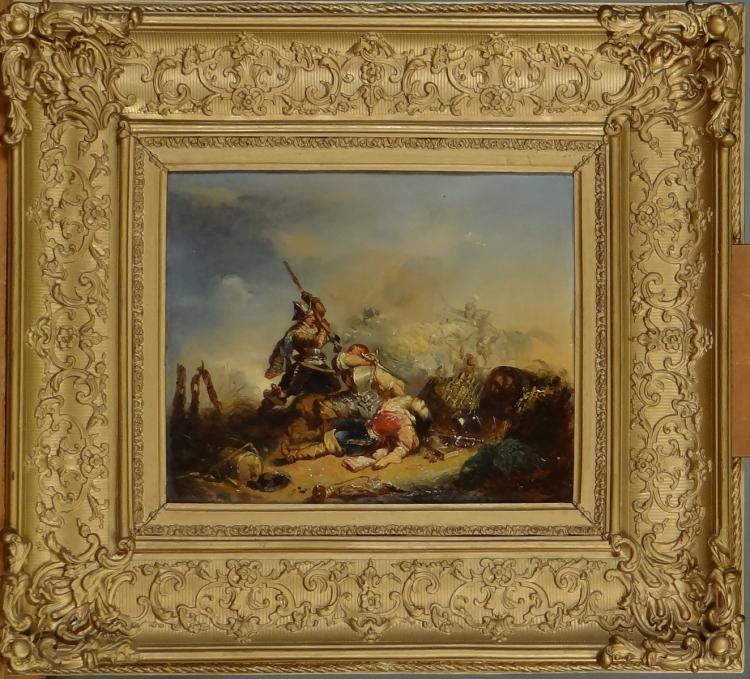 Painting oil on wood mahogany - Battle Scene - signed VAN DER HAEGHEN Joseph I
