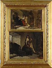 Painting (2) oil on mahogany laid down - Sketch Genre scenes - attributed to Karel OOMS